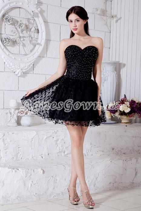 Chic Black Puffy Mini Length Black Damas Dress