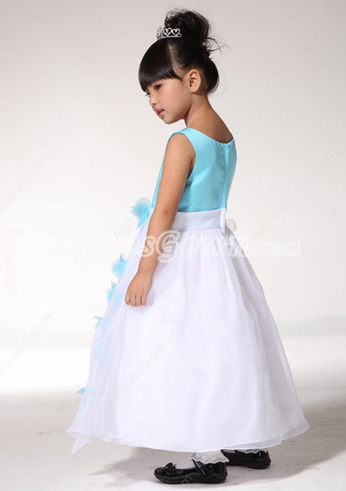 Scoop Neckline Blue And White Flower Girl Dress With Handmade Flowers