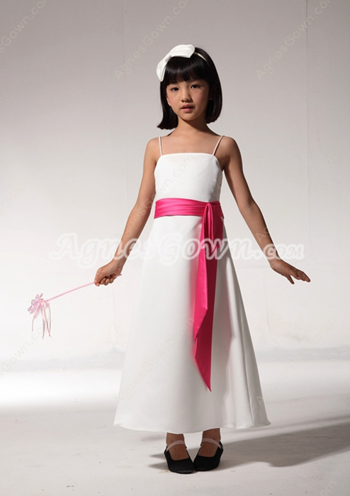 Ankle Length White Flower Girl Dress With Fuchsia Sash