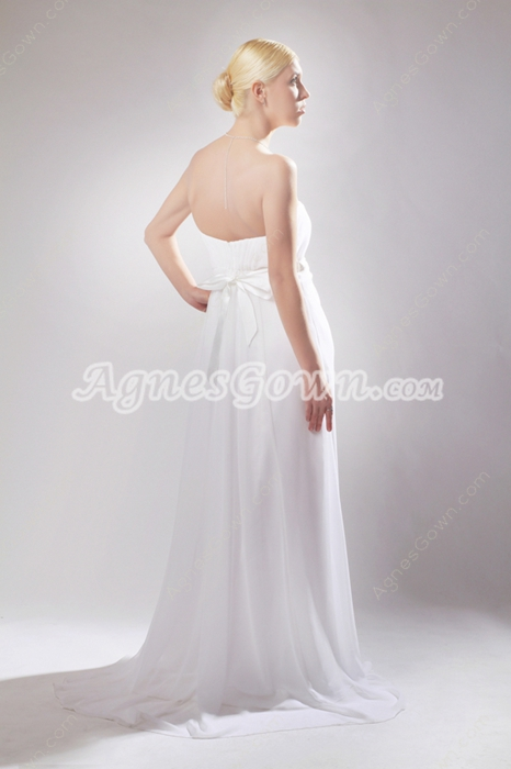 Grecian Empire White Chiffon Maternity Wedding Dress