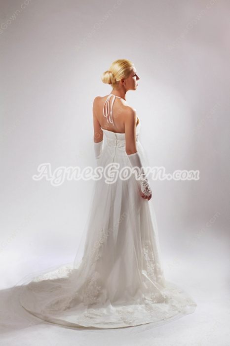 Grecian Halter Empire Full Length Maternity Wedding Dress