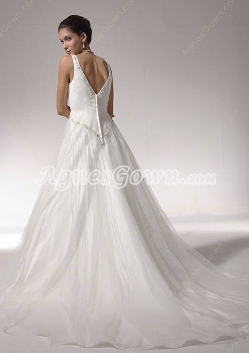 Plunge Neckline Princess Wedding Dress
