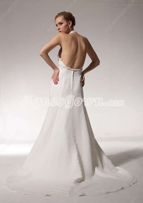 Open Back Top Halter Empire Maternity Wedding Dress