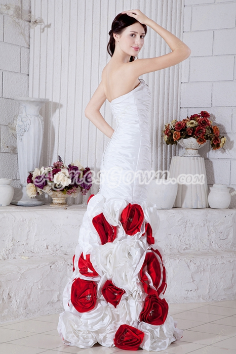 Impressive White & Red Taffeta Mermaid Floral Wedding Dress