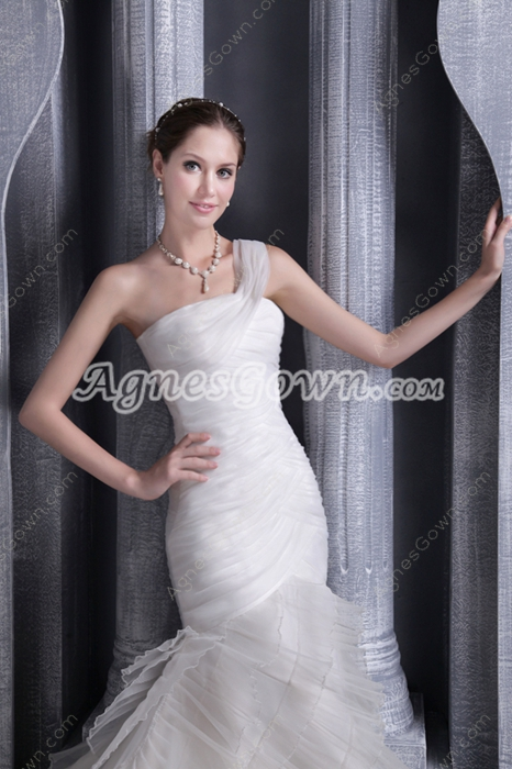 Vintage One Shoulder Mermaid Wedding Dress