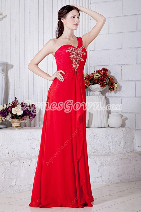Delicate One Straps A-line Red Chiffon Formal Evening Dress
