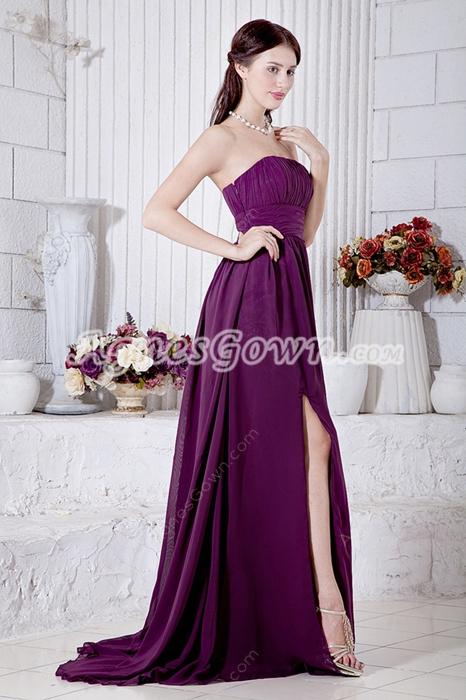 Grape Chiffon Modest Prom Party Dress Front Slit