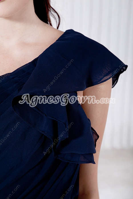 Affordable One Straps Dark Navy Formal Evening Dress