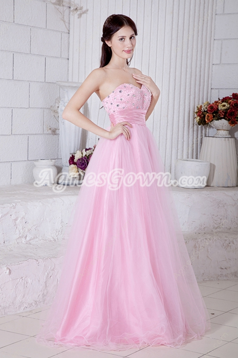 Lovely Sweetheart Pink Tulle Princess Quince Dress With Beads