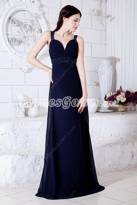 Keyhole Back Dark Navy Chiffon Formal Evening Dress