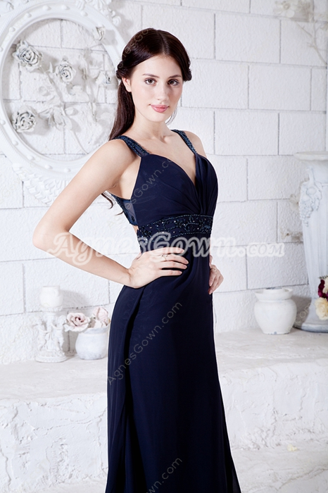 Keyhole Back Dark Navy Chiffon Formal Evening Dress