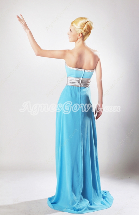 Graceful A-line Blue Chiffon Formal Evening Dress With Silver Sash