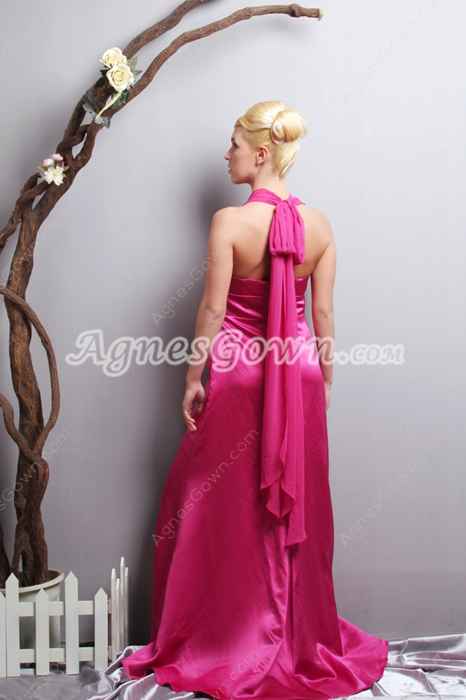Pretty A-line Top Halter Fuchsia Formal Evening Dress