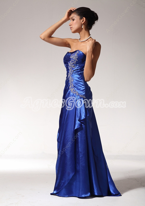 Exquisite A-line Royal Blue Satin Prom Party Dress