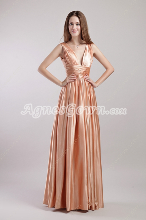 Plunge Neckline Coral Prom Dress V-Back