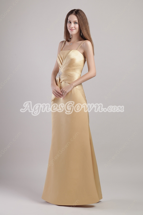 Noble Spaghetti Straps Champagne Bridesmaid Dress