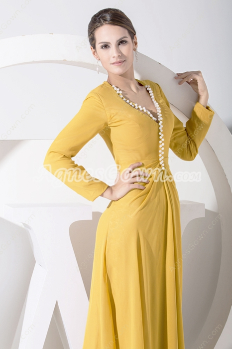 Long Sleeves Gold Chiffon Mother Of The Bride Dress