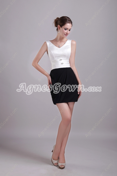 Mini Length White And Black Wedding Guest Dress