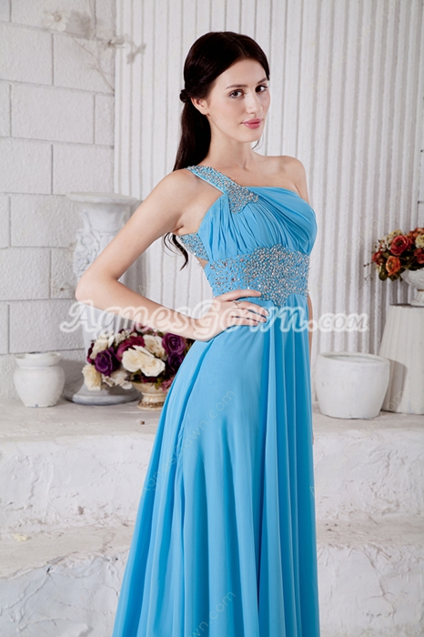 One Straps A-line Blue Celebrity Evening Dress