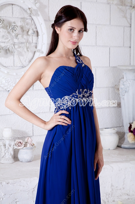 Delicate One Straps Royal Blue Junior Prom Gown