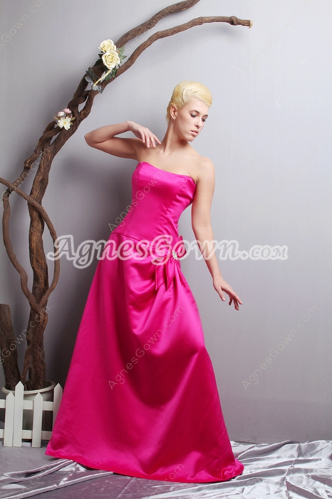 Dipped Neckline Fuchsia Satin Prom Party Dress
