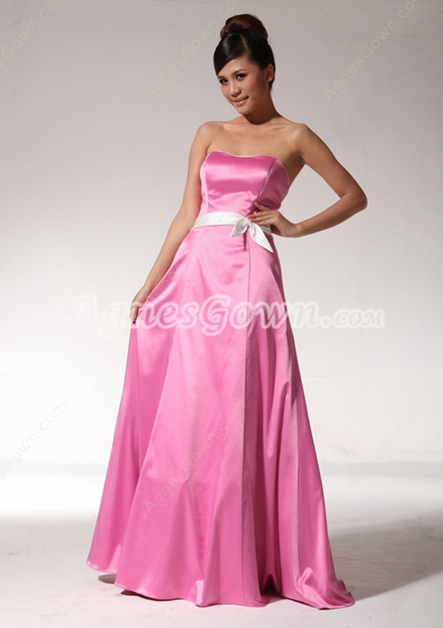 Dipped Neckline Hot Pink Full Length Prom Party Dress