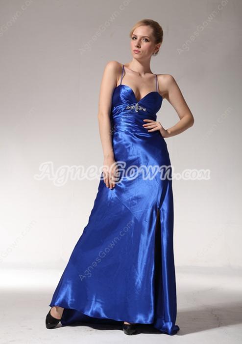 Sexy A-line Royal Blue Satin Evening Dress
