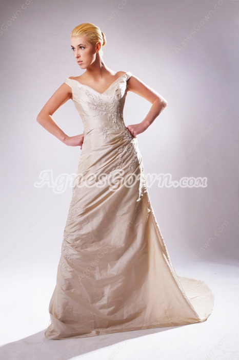 Off The Shoulder Champagne Taffeta Wedding Dress