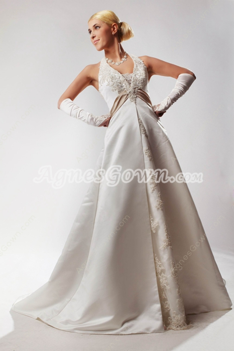 Impressive Halter A-line Satin Plus Size Bridal Dress With Lace
