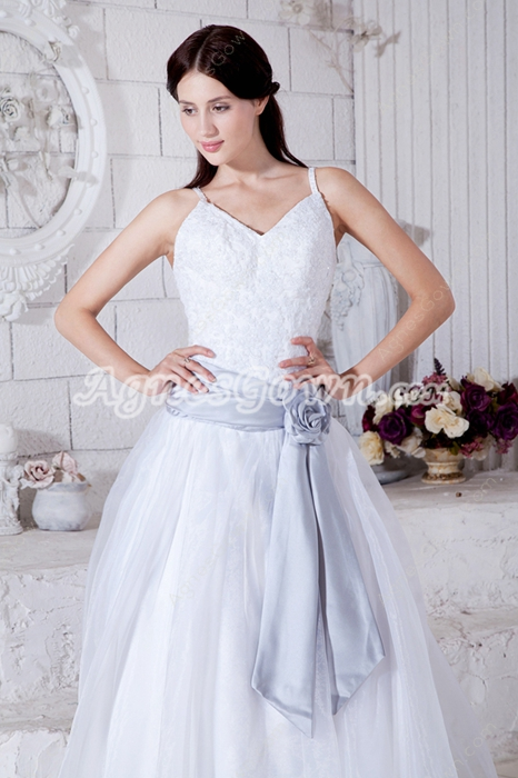 Spaghetti Straps White Organza Princess Wedding Dress With Silver Sash