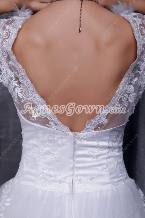 Double Straps White Tulle Princess Lace Wedding Dress