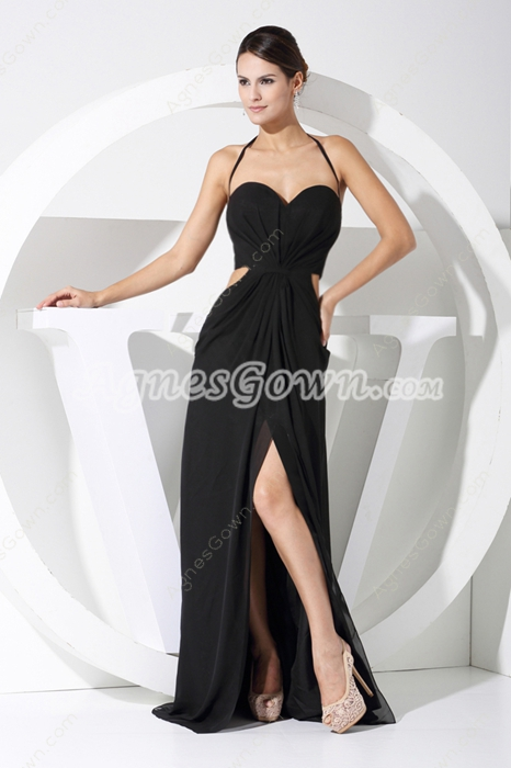 Sexy Halter Black Chiffon High School Graduation Dress