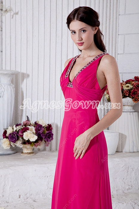 Pretty V-Neckline Fuchsia Chiffon Evening Dress