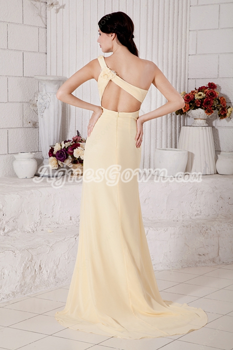 High Slit One Shoulder Daffodil Chiffon Formal Evening Dress
