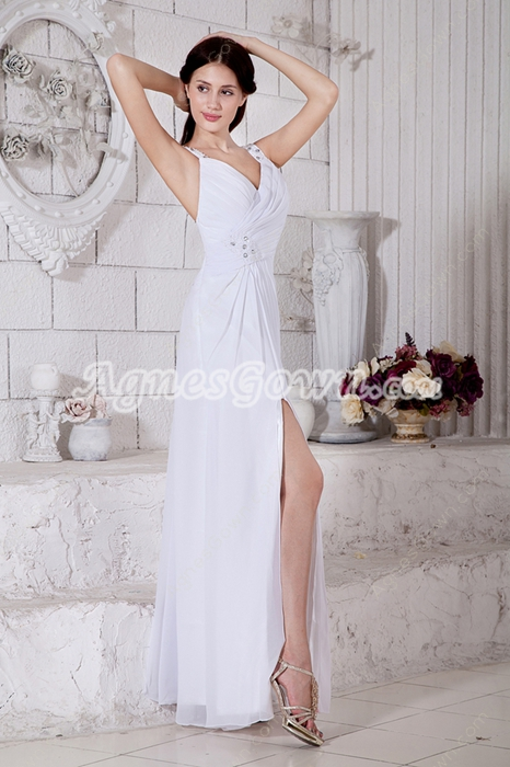 Front Slit White Chiffon Summer Wedding Dress