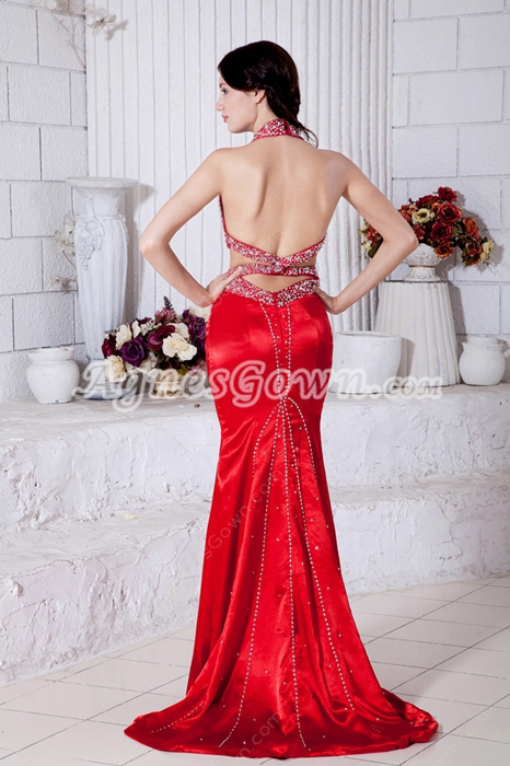 Sexy Halter Mermaid Red Formal Evening Dress Backless