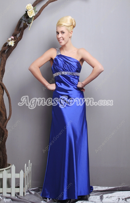 Royal Blue Satin Formal Evening Dress One Straps