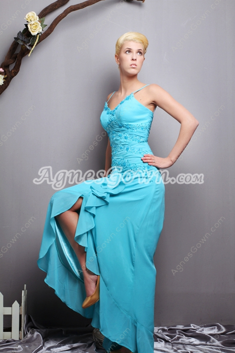 Lovely Blue High Low Junior Prom Dress