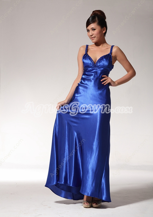 Sexy Low-cut Sweetheart Royal Blue Satin Formal Evening Dress