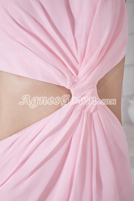 Cut Out Bateau Neckline Pink Chiffon High School Graduation Dress