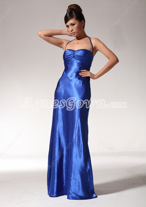 Halter A-line Royal Blue Satin High School Graduation Dress