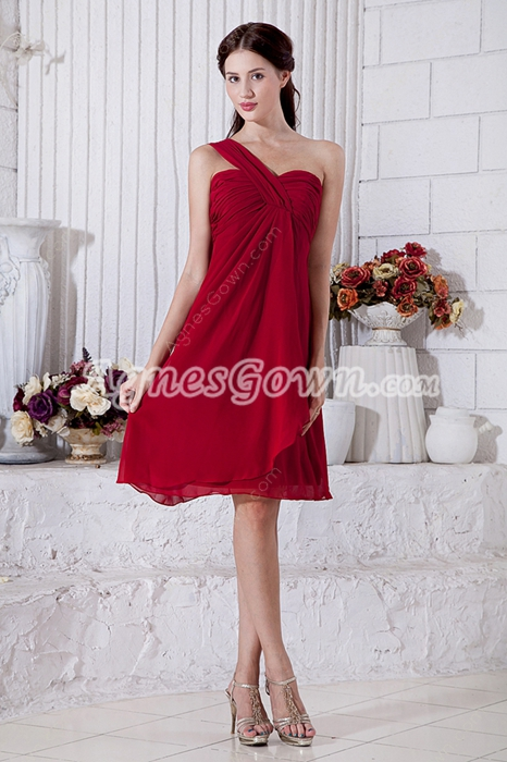 Knee Length One Straps Red Junior Prom Dress