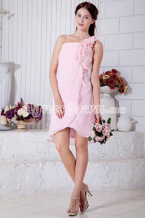 Cute One Straps Mini Length Pink High School Graduation Dress