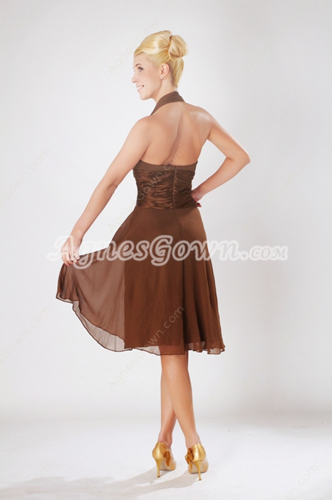 Knee Length Brown Chiffon Halter Wedding Guest Dress