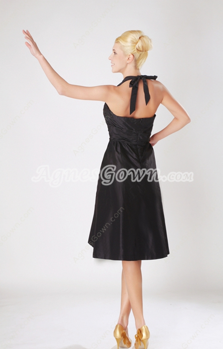 Knee Length Black Taffeta Junior Prom Dress