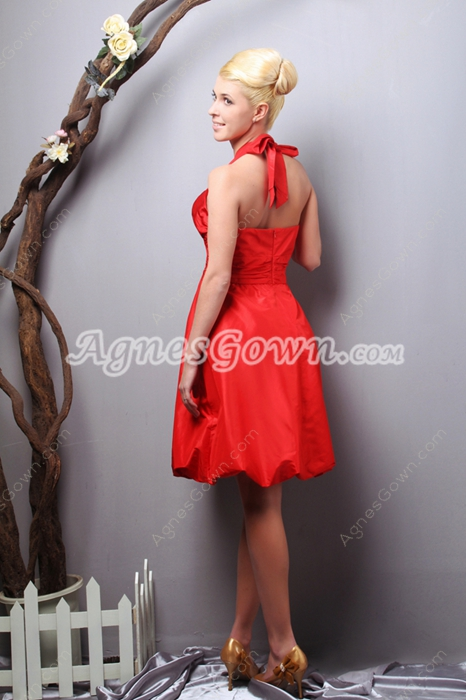 Knee Length Halter Red Prom Dress