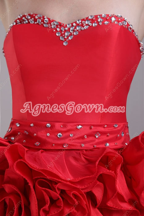 Chic Mini Length Red Damas Dress With Ruffles