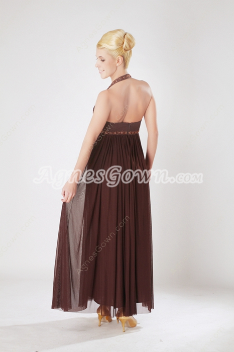 Ankle Length Chocolate Empire Graduation Dress