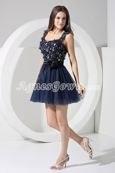 Keyhole Back Navy Blue Short Sweet 16 Dress
