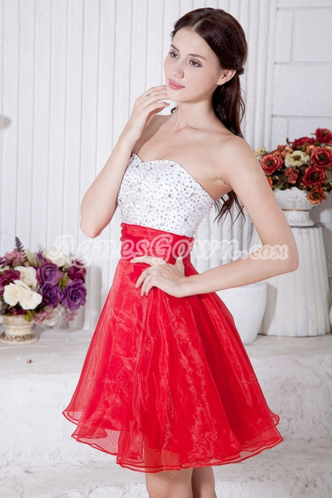 Lovely White And Red Sweet Sixteen Dress With Great Handworks